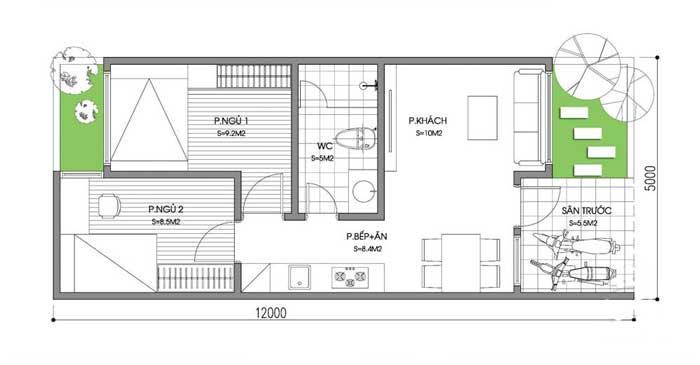 Thiết kế nhà cấp 4 sang trọng diện tích 60m2 cho cặp vợ chồng trẻ